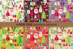 New Year Flat Seamless Patterns
