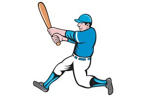 Baseball Player Batter Swinging Bat