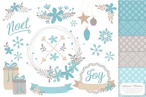 Blue Christmas Clipart & Patterns