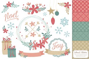 Soft Christmas Wreath Vectors