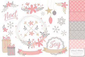 Pink Christmas Wreaths & Patterns