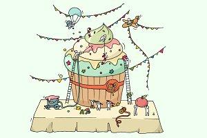 Sketch of cooking cupcake