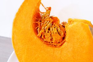 Closeup of a vivid orange pumpkin