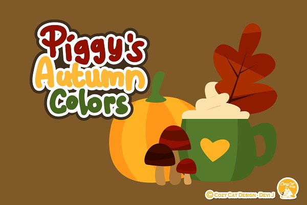 Piggy Autumn Colors Digital Clip Art