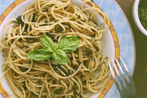 Spaghetti with homemade pesto