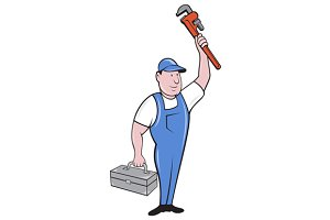 Plumber Toolbox Raising Monkey Wrenc