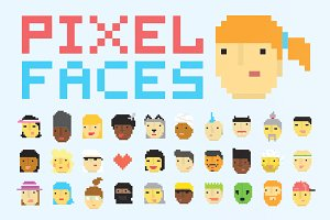 30 pixel art faces