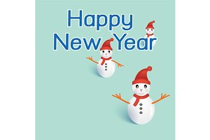 Three snowmans with happy new year