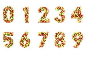 Set of numbers made from apples