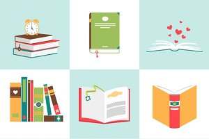 Set of books in flat design