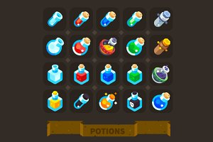 Fantasy Game Icons Set: Potions.