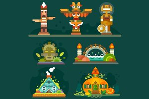 Magic Forest Totems and Buildings.