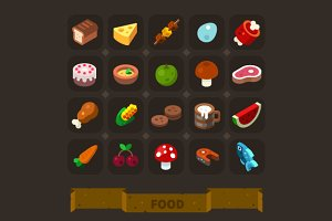 Fantasy Game Icons Set: Food.