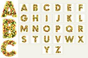 Fruits Alphabet 3D photo-realistic