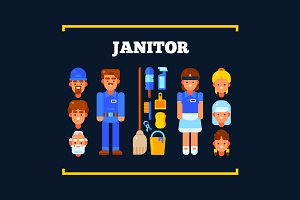 Janitor and Items for Cleaning