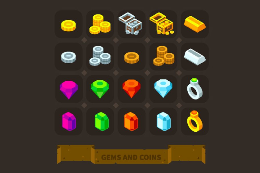 Fantasy Game Icons: Gems And Coins