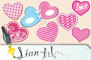 Scrapbooking set of hearts