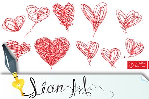 Set of 10 scribbled hearts