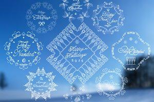 9 Hand-Drawn Christmas Badges - V1
