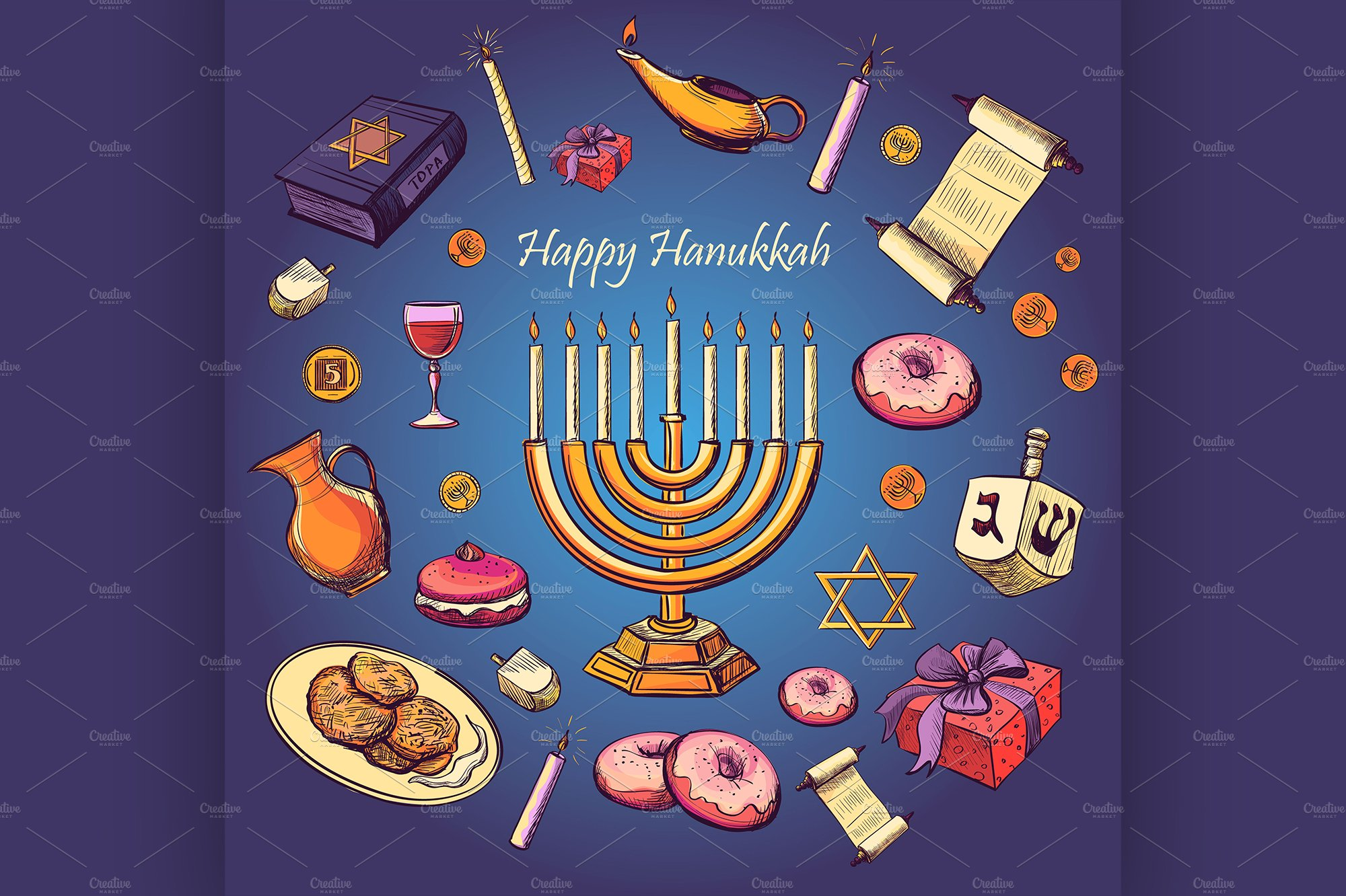 Happy Hanukkah Holiday Illustrations Creative Market
