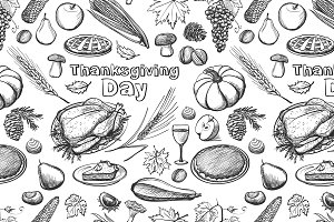 Hand drawn sketch Thanksgiving Day