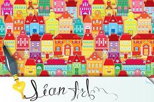Seamless pattern with color houses