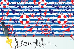 Seamless nautical pattern on striped