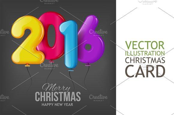 Happy New 2016 Year. Realistic Balls - Illustrations