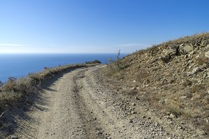 Dirt road in the Crimean mountains.