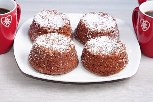 Winter chocolate muffins and coffee