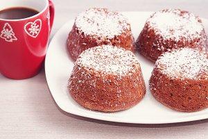 Winter chocolate muffins with sugar