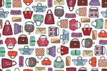 Pattern with hand drawn handbags