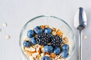 Healthy breakfast, yogurt and muesli