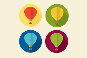 Air Ballon Icon Set Flat. Vector