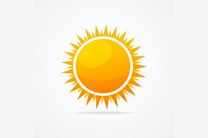 Glossy Sun Icon Set. Vector