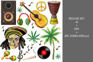 Reggae set vector illustration