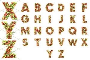 Set of letters made from apples