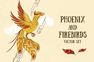 Phoenix and firebirds vector set