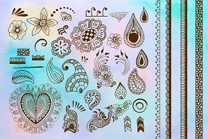 Henna tattoo vector set