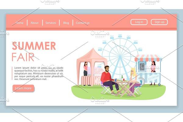 Summer fair landing page vector