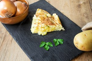 Typical Spanish potato omelet