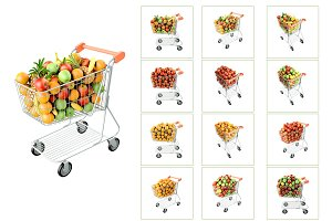 Fruits in a shopping cart