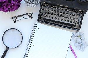 Purple Black Typewriter Styled Stock