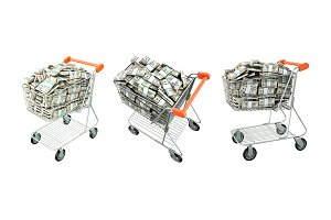 Shopping cart with many dollars.