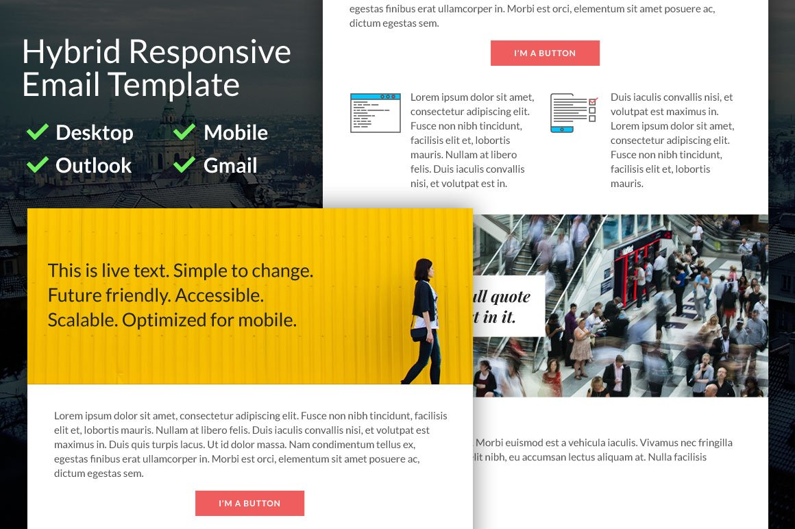 Hybrid Responsive Email Template Email Templates Creative Market - Hybrid email template