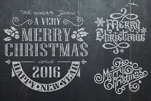 Christmas vintage chalk text