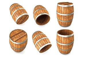 Set of Wooden barrel