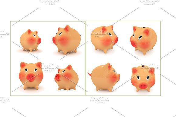 Set of piggy bank. 3D render - Illustrations