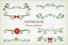 Watercolor Christmas Garlands