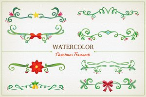 Watercolor Christmas Garlands